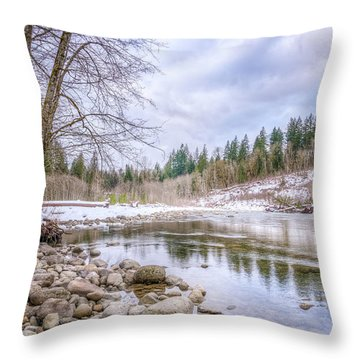 Throw Pillow featuring the photograph Cascasde Mountain Landscape by Spencer McDonald