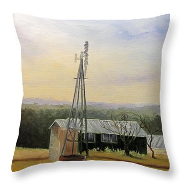 Case Ranch Buildings Throw Pillow