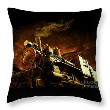 Casey Jones And The Cannonball Express Throw Pillow by Edward Fielding
