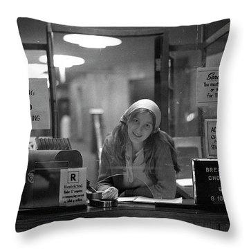 Cashier, Devon Theatre, 1979 Throw Pillow