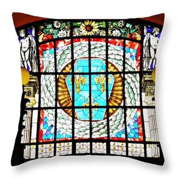 Casino Stained Glass Throw Pillow by Sarah Loft