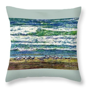 Caspian Terns By The Ocean Throw Pillow