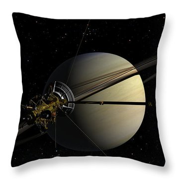 Cassini Orbiting Saturn Throw Pillow
