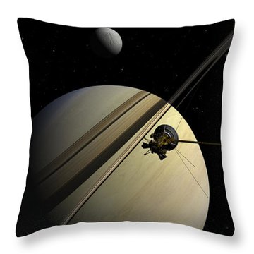 Cassini Passing Tethys Throw Pillow