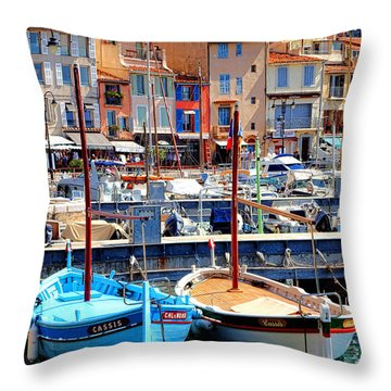 Throw Pillow featuring the photograph Cassis Harbor by Olivier Le Queinec