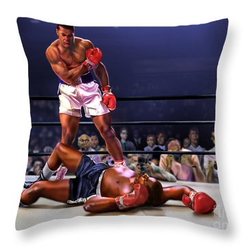 Cassius Clay Vs Sonny Liston Throw Pillow