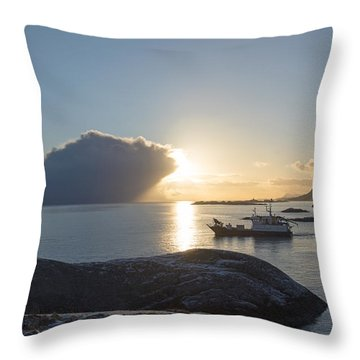 Cast A Giant Shadow... Reine Lofoten Throw Pillow