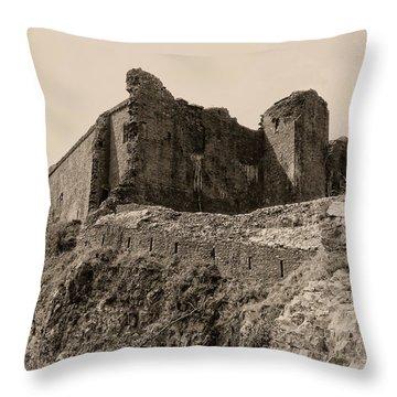 Throw Pillow featuring the photograph Castell Carreg Cennen by Nigel Fletcher-Jones