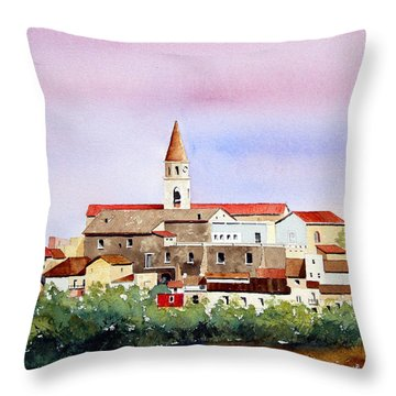 Throw Pillow featuring the painting Castelnuovo Della Daunia by William Renzulli