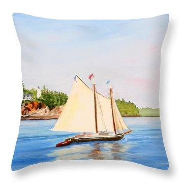Castine Harbor And Dice Head Light Throw Pillow