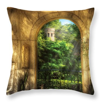 Castle - Just Beyond Throw Pillow by Mike Savad