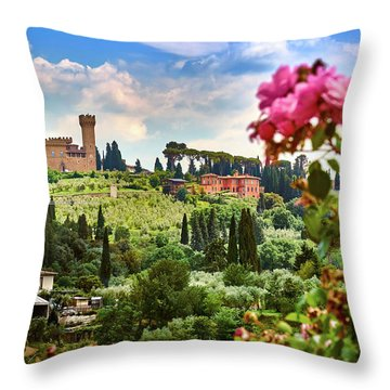 Roses And Castle On Green Tuscan Landscape In Florence, Italy Throw Pillow