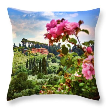Castle And Roses In Firenze Throw Pillow