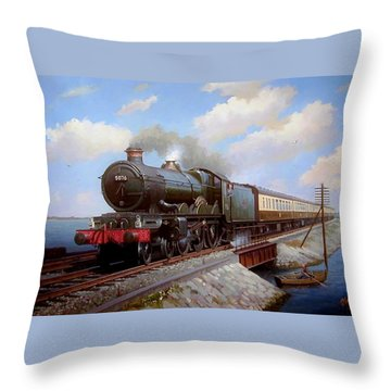 Castle At Starcross Throw Pillow by Mike  Jeffries
