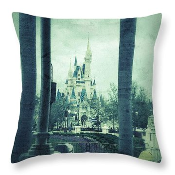 Castle Between The Palms Throw Pillow