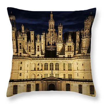 Throw Pillow featuring the photograph Castle Chambord Illuminated by Heiko Koehrer-Wagner