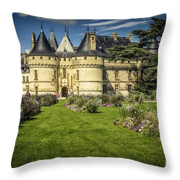 Throw Pillow featuring the photograph Castle Chaumont With Garden by Heiko Koehrer-Wagner