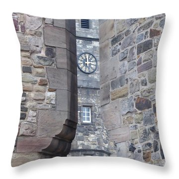 Castle Clock Through Walls Throw Pillow by Margaret Brooks