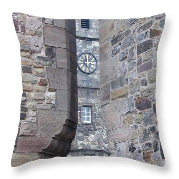 Castle Clock Through Walls Throw Pillow