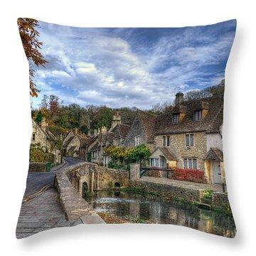 Castle Combe England Throw Pillow by Ann Garrett