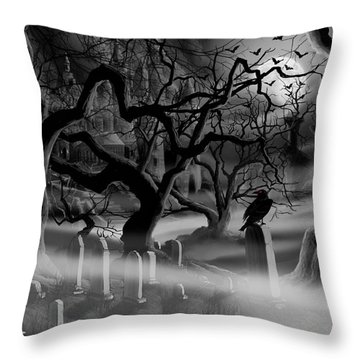 Castle Graveyard I Throw Pillow