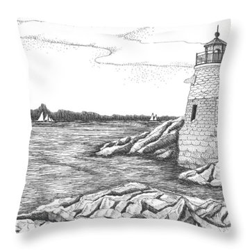 Castle Hill Lighthouse Throw Pillow by Lawrence Tripoli