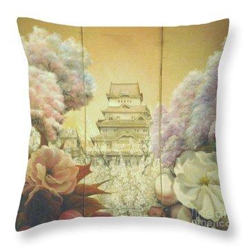 Castle Himeji - Sakura Throw Pillow
