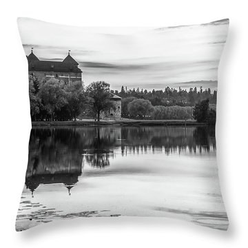 Castle In Black And White Throw Pillow