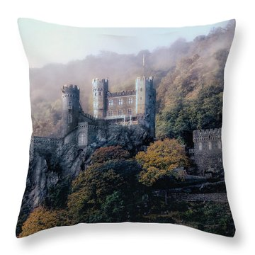 Castle In The Mist Throw Pillow