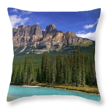 Castle Mountain Banff The Canadian Rockies Throw Pillow