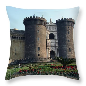 Castle Nuovo Naples Italy Throw Pillow