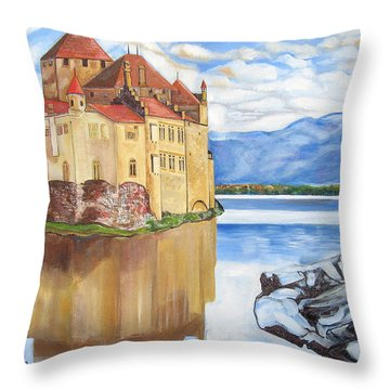 Castle Of Chillon Throw Pillow by John Keaton