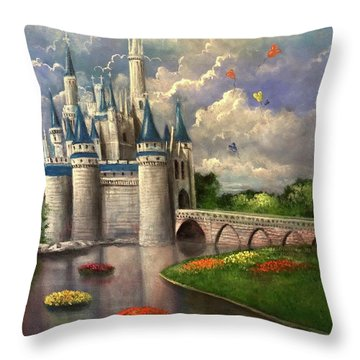 Castle Of Dreams Throw Pillow by Randy Burns