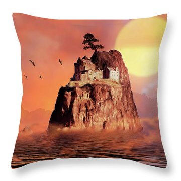 Castle On Seastack Throw Pillow
