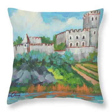 Throw Pillow featuring the painting Castle On The Upper Rhine River by Diane McClary