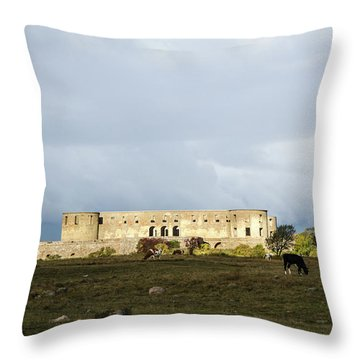 Throw Pillow featuring the photograph Castle Ruin In Spotlight by Kennerth and Birgitta Kullman