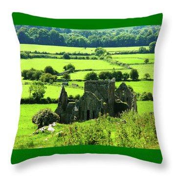 Castle Ruins Countryside Throw Pillow