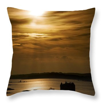 Castle Stalker At Sunset, Loch Laich Throw Pillow