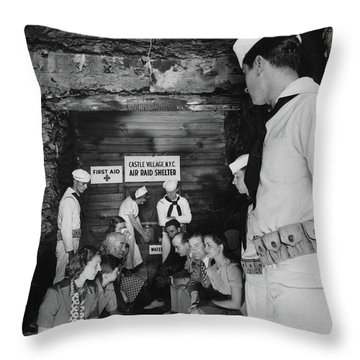 Castle Village Air Raid Shelter Throw Pillow