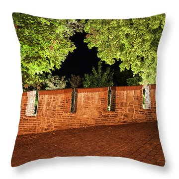 Castle Wall Battlement And Trees At Night Throw Pillow