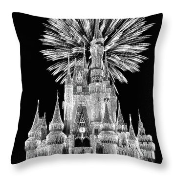 Castle With Fireworks In Black And White Walt Disney World Mp Throw Pillow