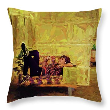 Throw Pillow featuring the photograph Casual Student by Lewis Mann