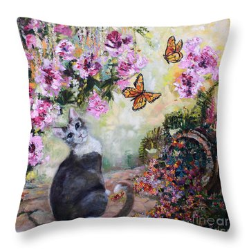 Throw Pillow featuring the painting Cat And Butterflies In Cottage Garden by Ginette Callaway