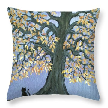 Cat And Crow Throw Pillow by Nick Gustafson