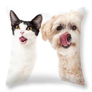 Cat And Dog Licking Lips Throw Pillow