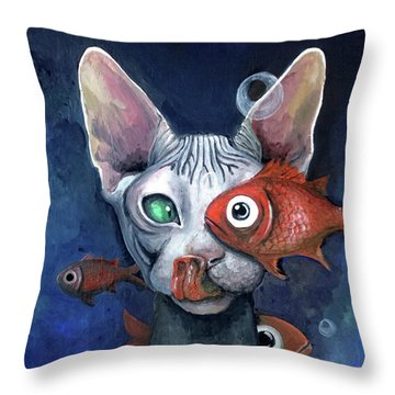 Cat And Fish Throw Pillow