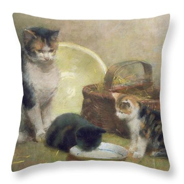 Cat And Kittens Throw Pillow by Walter Frederick Osborne