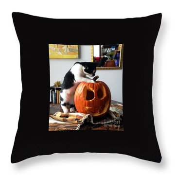 Cat And Pumpkin Throw Pillow by Vicky Tarcau