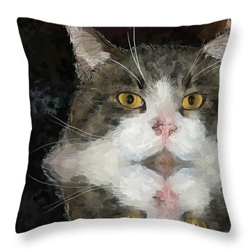 Cat At The Table Throw Pillow