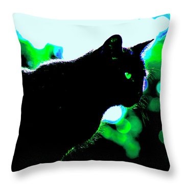 Cat Bathed In Green Light Throw Pillow by Gina O'Brien